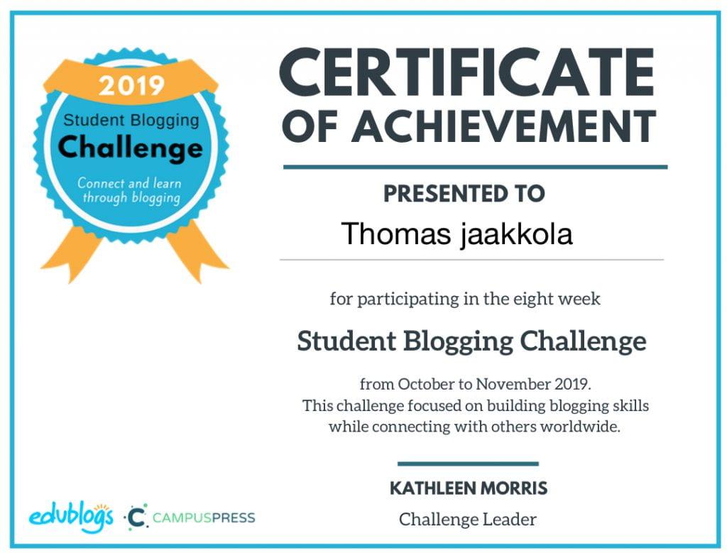 Student blogging challenge week 8