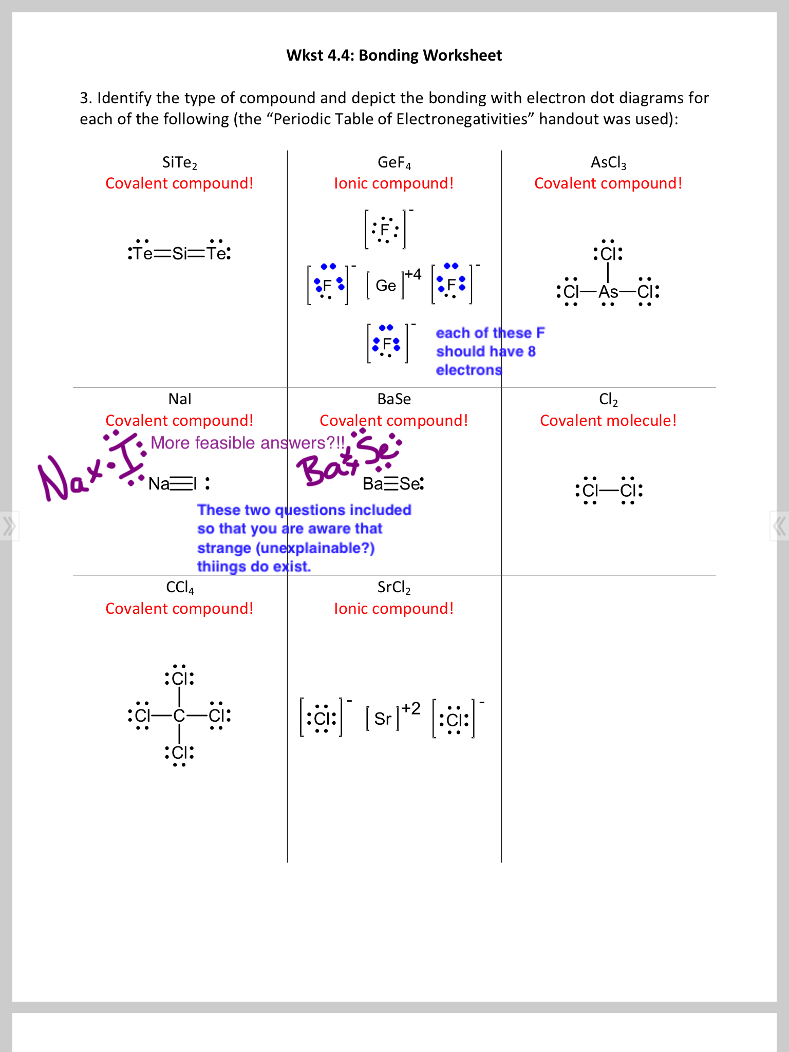 dot diagram questions from worksheet 4 3 (charged polyatomic ions like  nh4+ and coordinate covalent bonds such as n2o4 etc)  starting to work on  wkst4 4