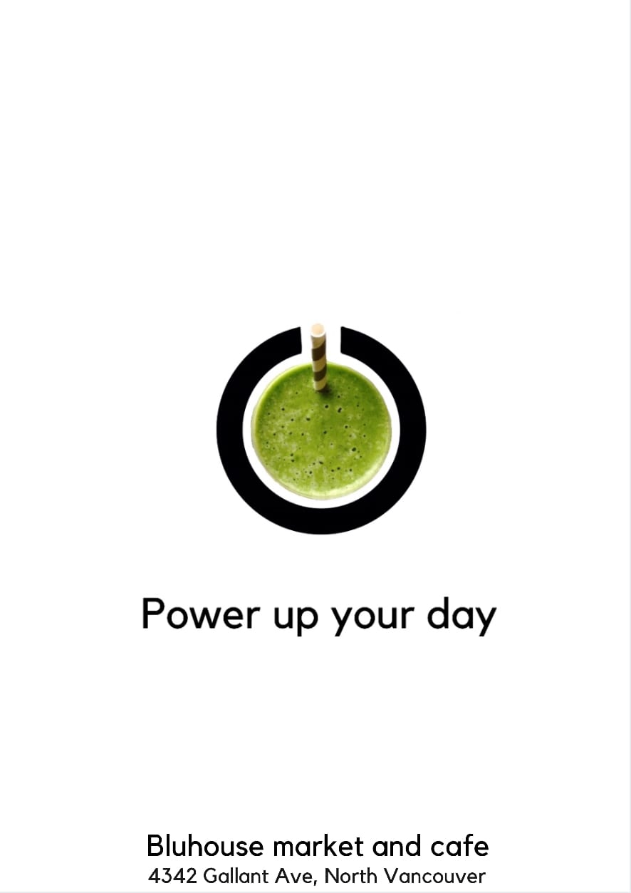 Power up your day bluhouse ad