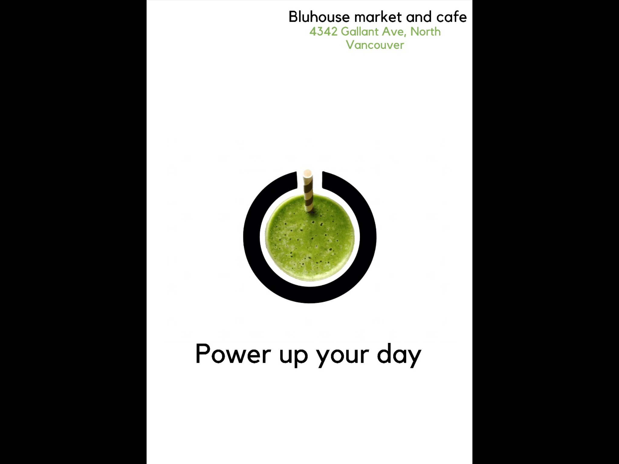 Power up your day ad for bluhouse