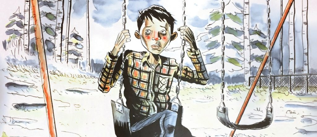 Secret Path Chanie Wenjack residential school runaway on a swing