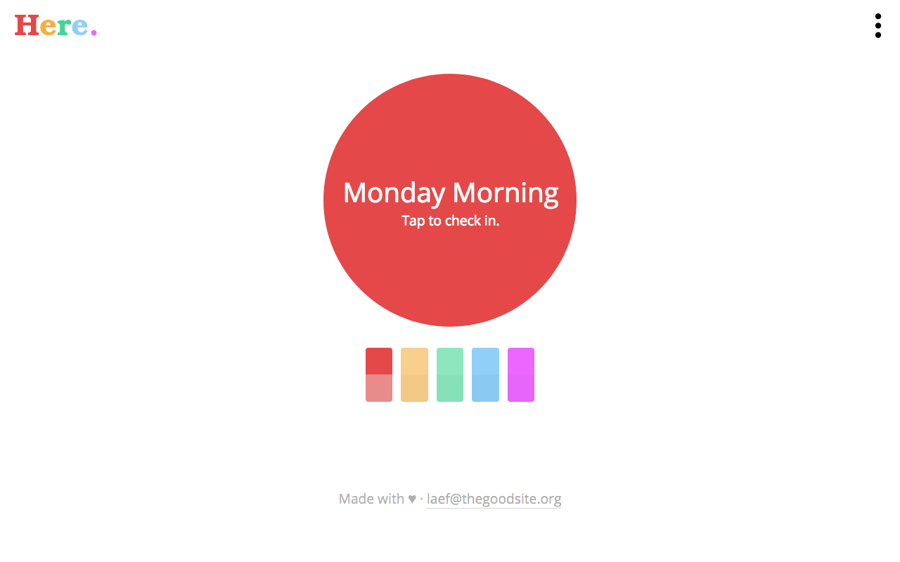 "A website with a gigantic, circular button saying ""Monday Morning - Tap to Check In""."