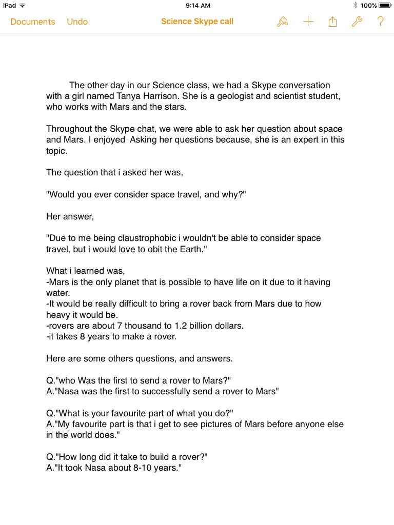 Science Skype Conversation   Christina's Blog