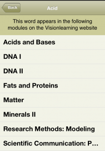 I chose to look at acid and some other words that relate to acid are in the list.