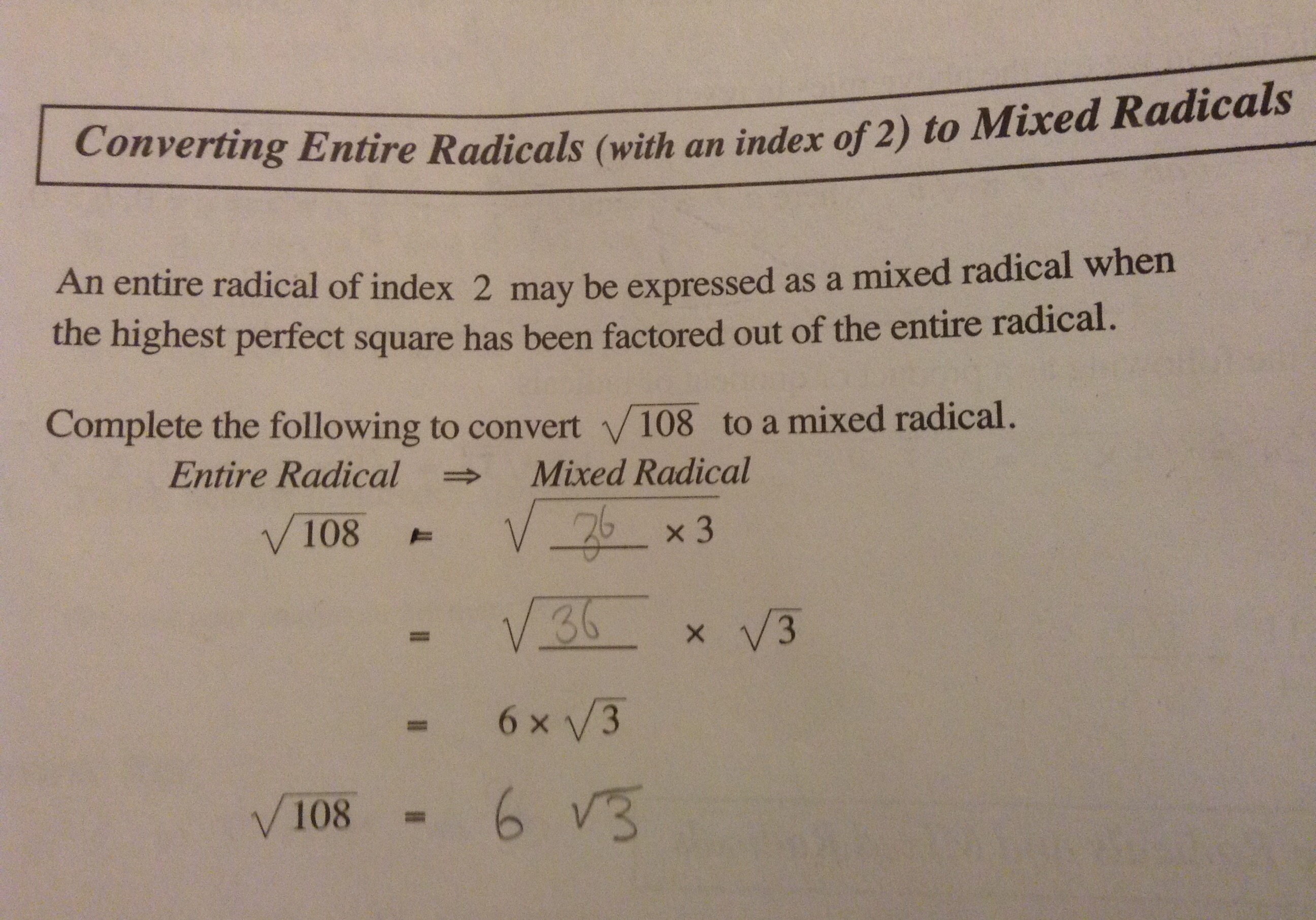 how to change entire radicals to mixed