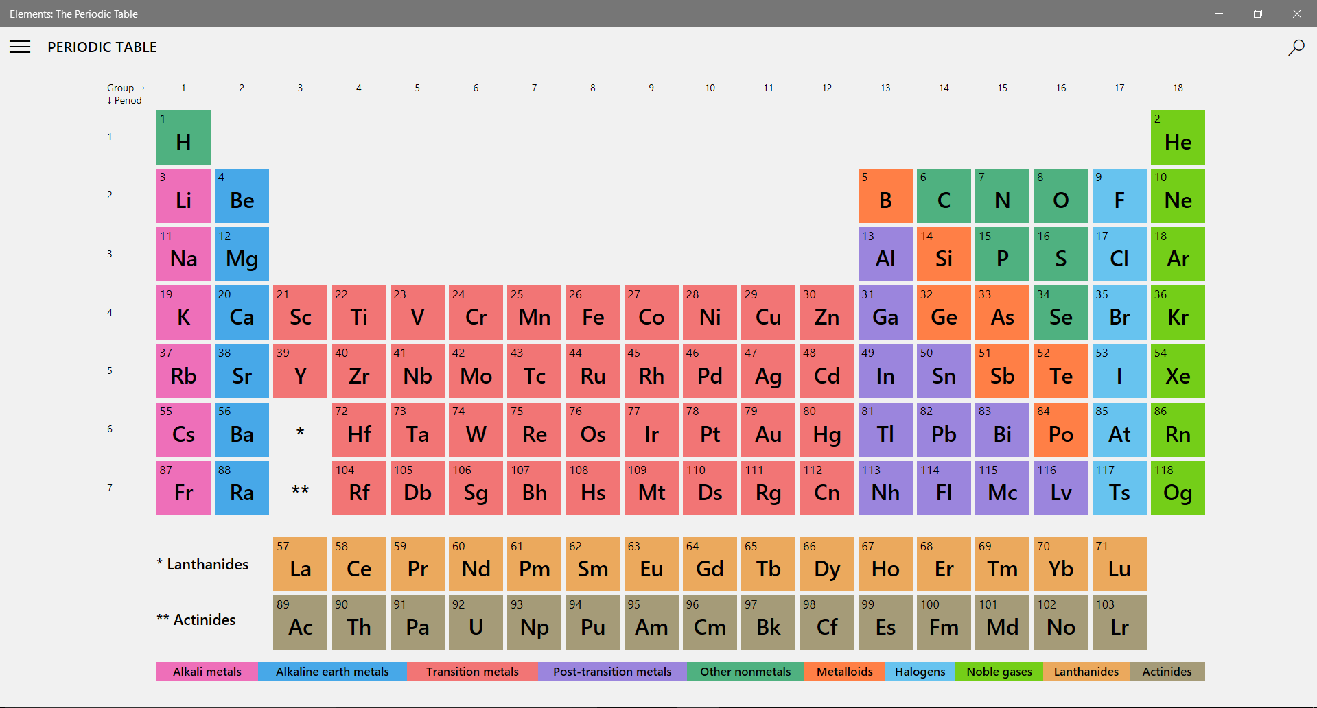 the app has a search button that you could enter either the elements full name or its abbreviation if you happen to find your element on the chart you - Periodic Table App For Windows 8