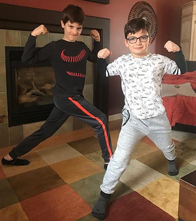 Kids exercising at home