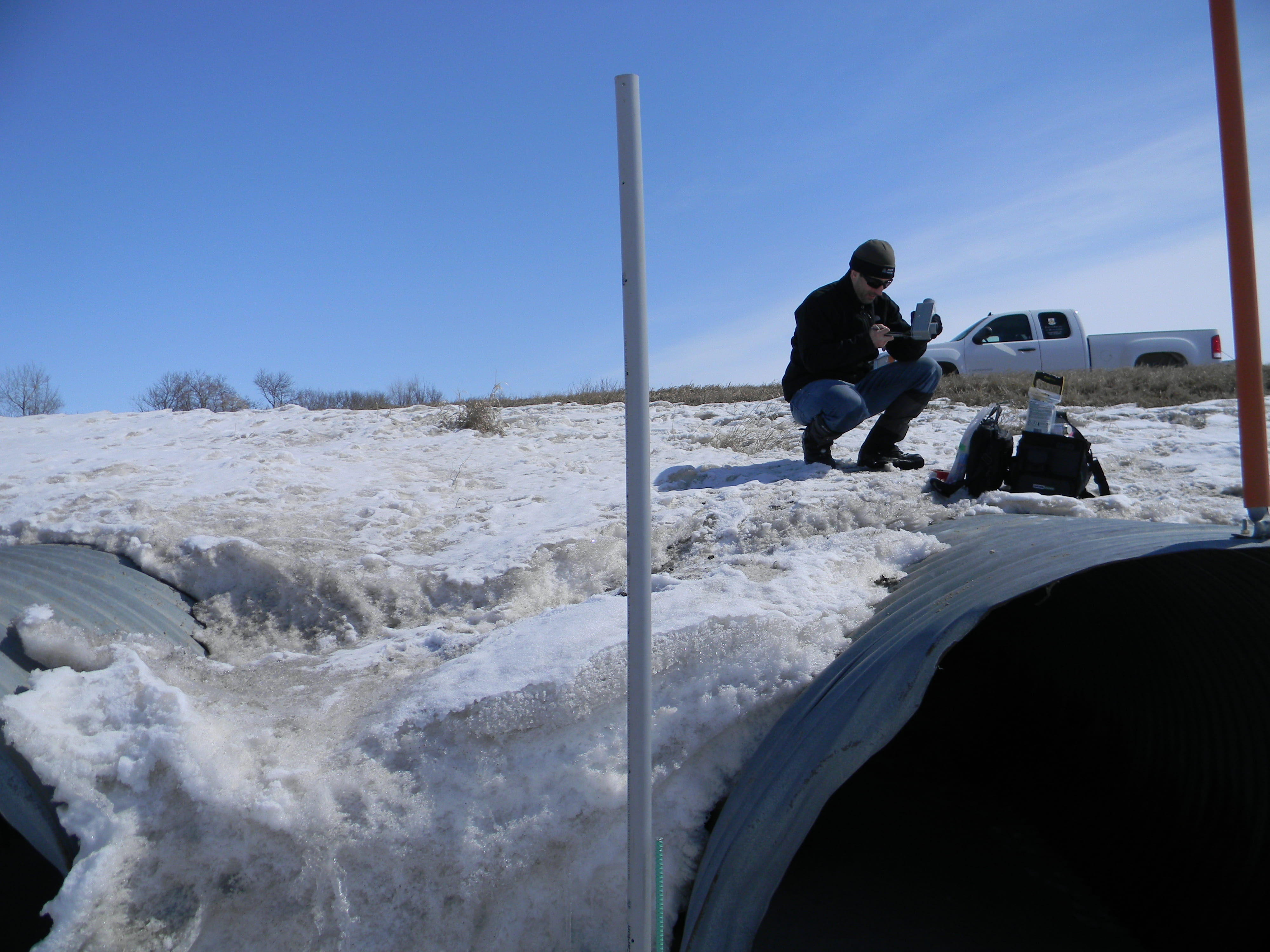 Lasalle River Watershed, March 2013 - Figuring out how to instrument snow-filled culverts