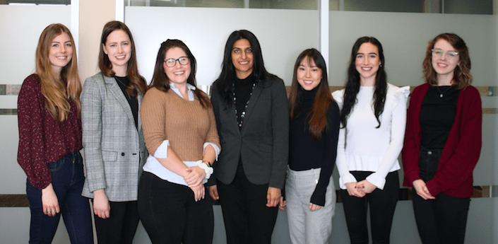 Dr. Gill with GOT Lab. Left to Right: Emma Vreeker-Wlliamson, Katherine Gibbard, Alexandria Elms, Dr. Harjinder Gill, Aisha Tokjuman, Taylor Carroll, Emma Currie