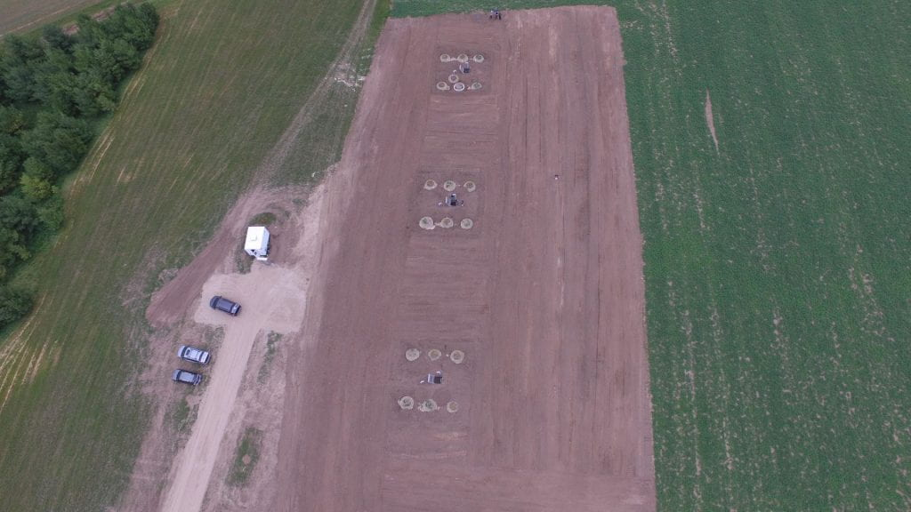 Overhead view of agricultural field and lysimeter infrastructure