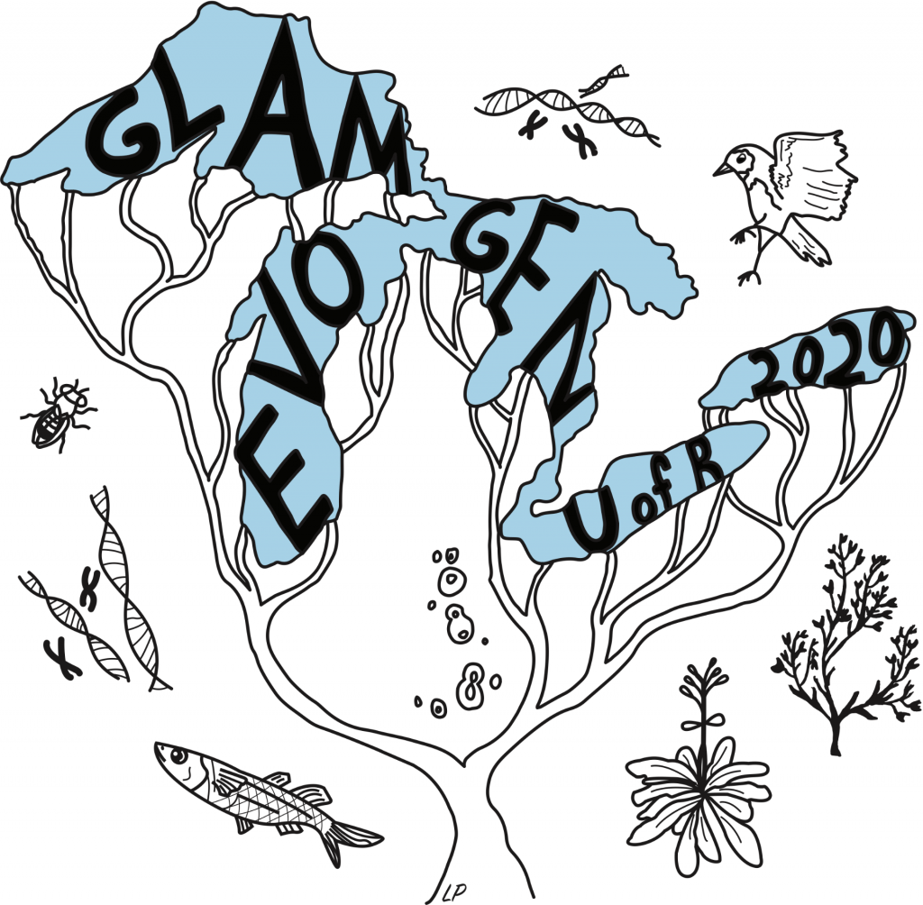 The 2020 GLAM EVO GEN logo, created by Lindsey Perrin