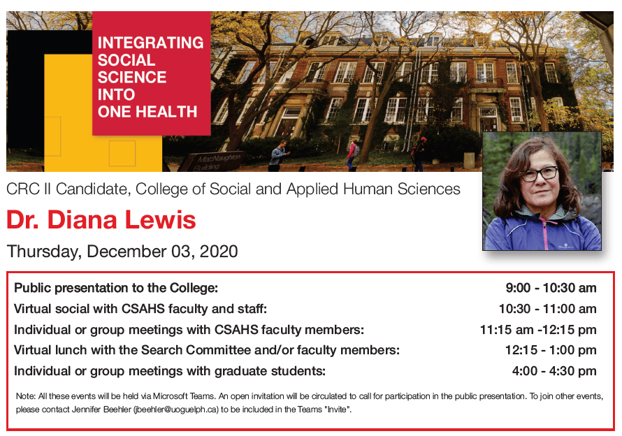 Screen capture from the PDF link above with the itinerary for Dr. Diana Lewis's visit, a headshot of Dr. Lewis, and a University of Guelph building photo
