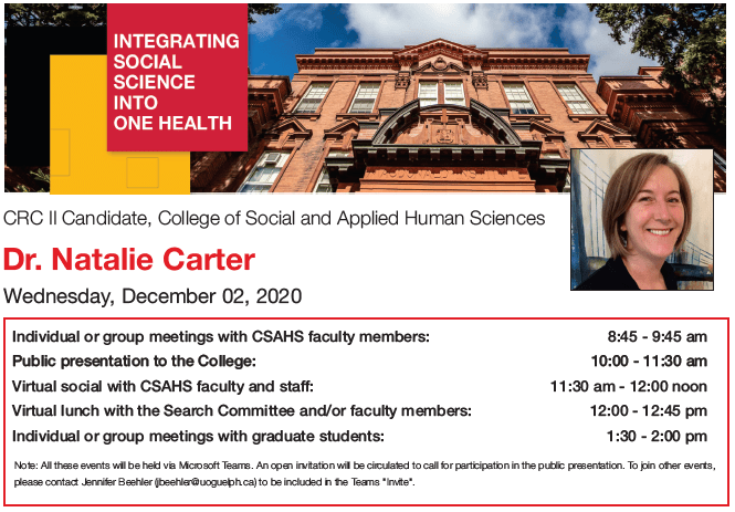 Screen capture from the PDF link above with the itinerary for Dr. Natalie Carter's visit, a headshot of Dr. Carter, and a University of Guelph building photo
