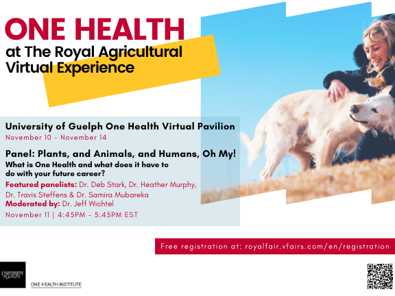 """Banner announcing """"One Health at the Royal Agricultural Virtual Experience University of Guelph One Health Virtual Pavilion November 10 - November 14 Panel: Plants, and Animals, and Humans, Oh My! What is One Health and what does it have to do with your future career? Featured panelists: Dr. Deb Stark, Dr. Heather Murphy, Dr. Travis Steffens & Dr. Samira Mubareka Moderated by: Dr. Jeff Wichtel November 11: 4:45PM-5:45PM EST Free registration at: royalfair.vfairs.com/en/registration"""" with image of person petting a Golden Retriever on a grassy hill and One Health Institute logo and QR code to access registration."""