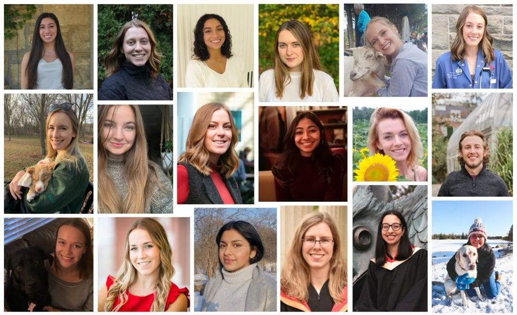 Collage of the members of the 2020-2021 One Health Student Committee.