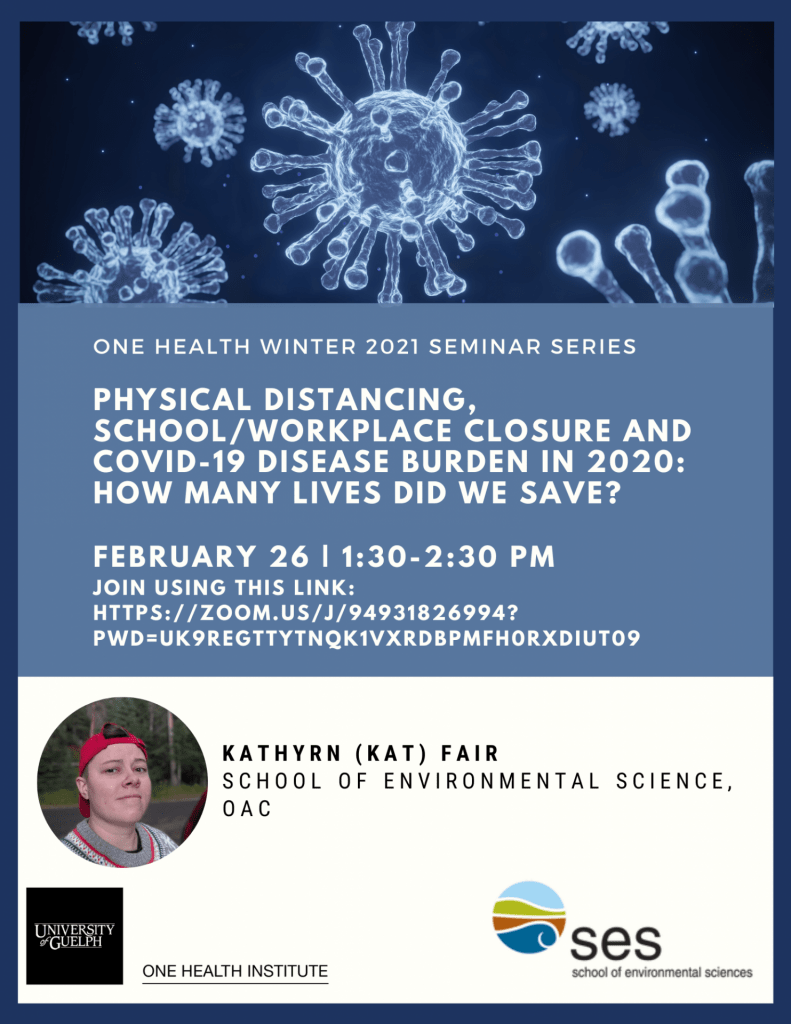 Poster with text. Image of Covid 19 virus as the top of the poster. Text reads:  One Health winter 2021 seminar series. Physical distancing, school/workplace closure and Covid-19 disease burden in 2020: how many lives did we save?