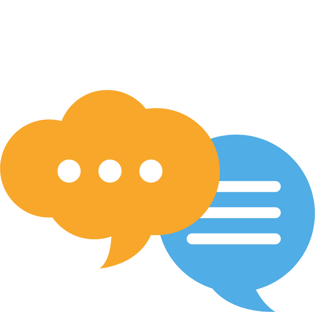 Graphic of an orange thought bubble and blue speech bubble/