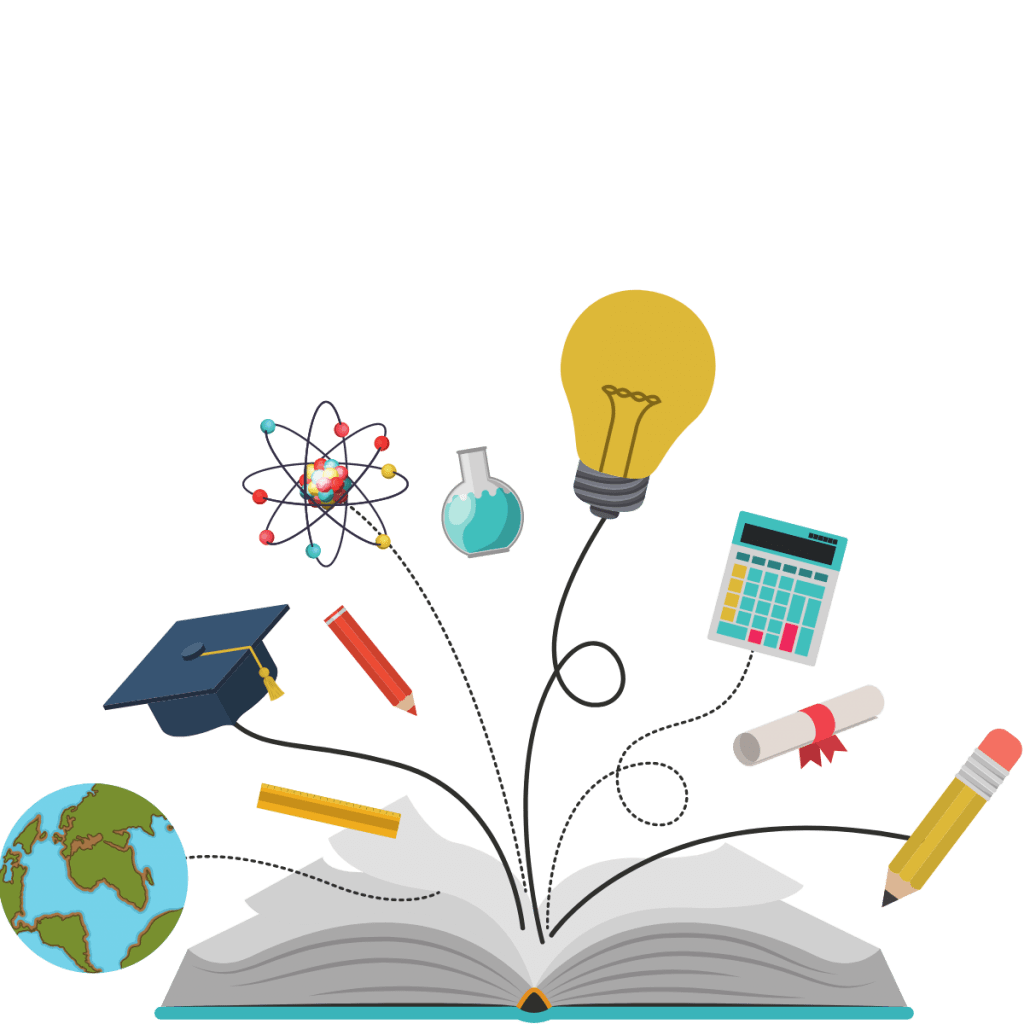 Graphic of an open book with a globe, graduation cap, atom, lightbulb, calculator, degree and pencil coming out of it.