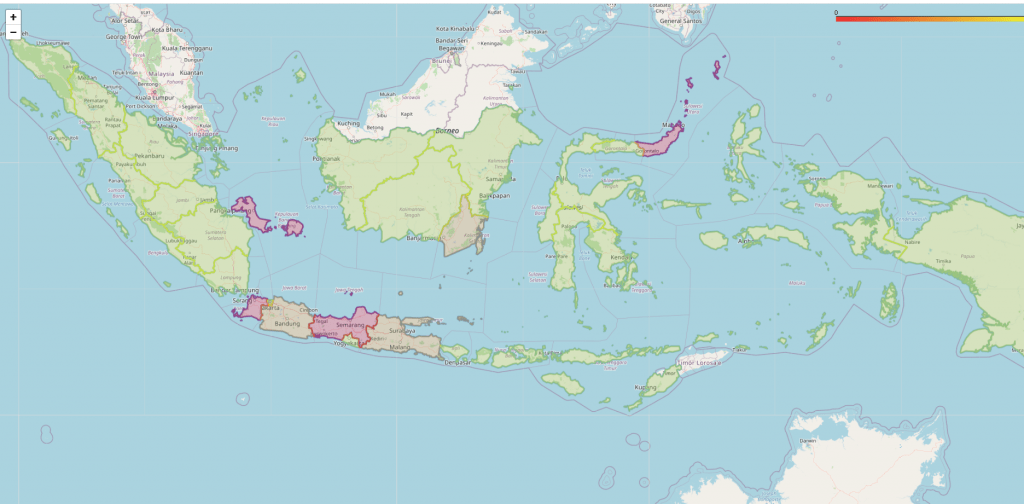 A risk map of Indonesia developed by Dara and her team.