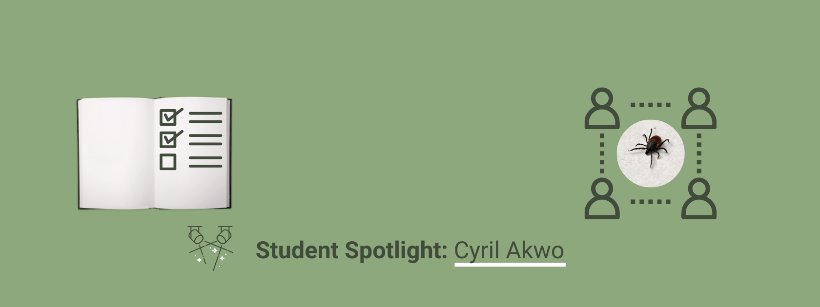 A banner announcing the new Student Spotlight article on Cyril Akwo. A photo of an open book with a checklist on its page sits on the left side of the banner while the image on the right depicts four people aligned in the shape of a square surrounding a photo of a tick.