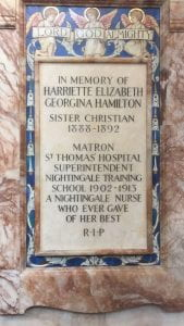 Memorial plaque, St Thomas' Chapel, London. Photograph courtesy of John Shallcross