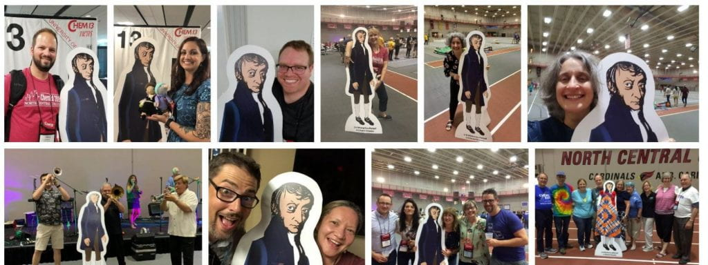 a collage of photos showing people with a life-size Avogadro