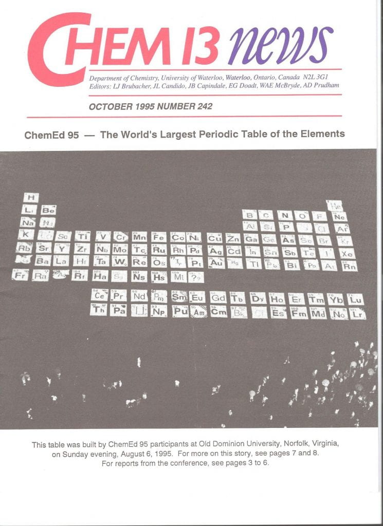a cover of Chem 13 News from 1995 showing a periodic table on a football field created with bedsheets