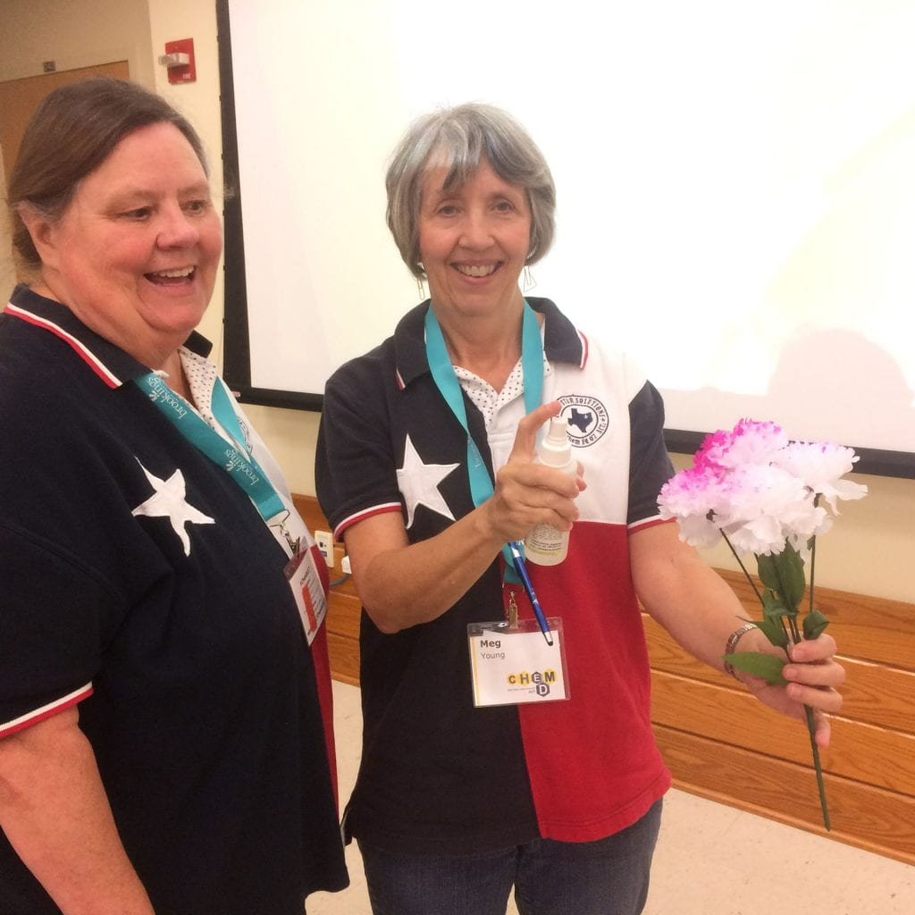 Meg Young and Melissa Jones demo on colouring white tissue flowers