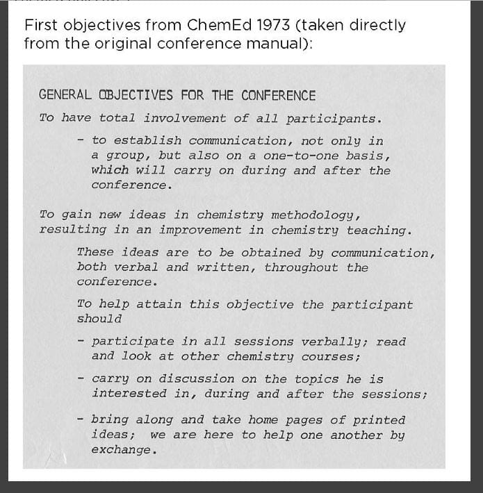 a snapshot of the 1973 ChemEd 1973 conference manual with program objectives
