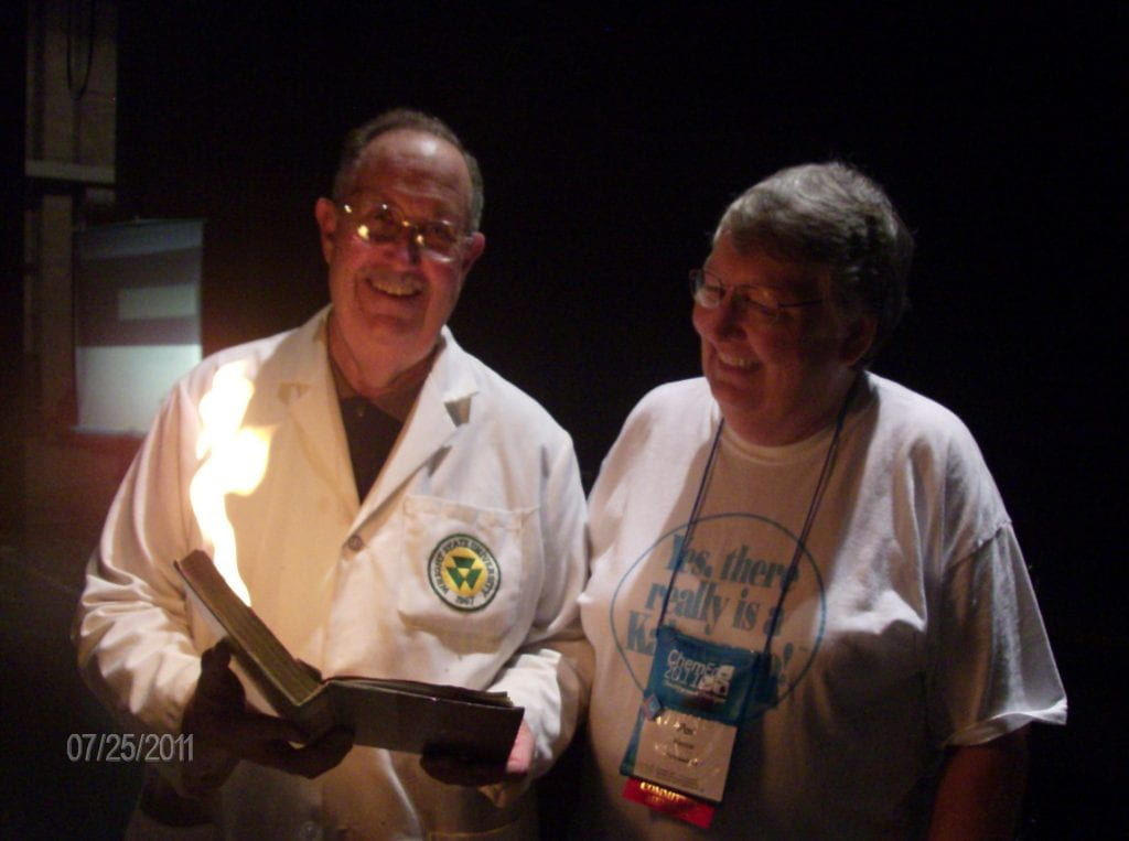 John Fortman and Pat Vance with the famous burning book demo