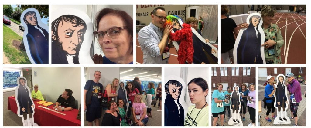 life-size cut out of Avogadro taking selfies at different conference locations with everyone smiling