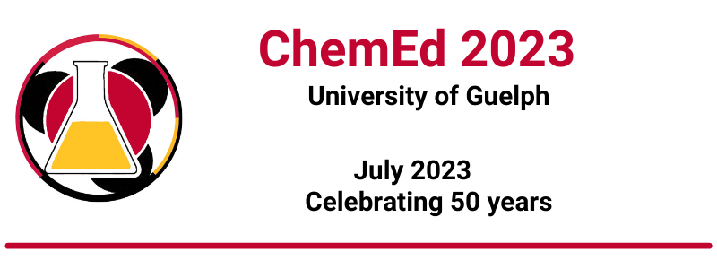 ChemEd 2023 logo with University of Guelph, July 2023, Celebrating 50 years