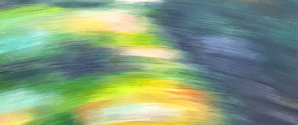Different shades of green, yellow, blue, white and orange paint move in thick brush strokes across the frame to create an image that calls to mind the natural world, but blurred.