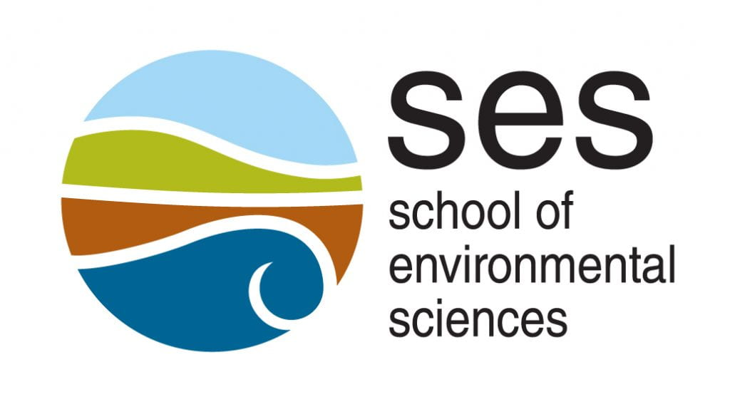 This is the logo for the school of environmental science. The logo sis a sphere with representations of sky, green land, brown land and a wave.