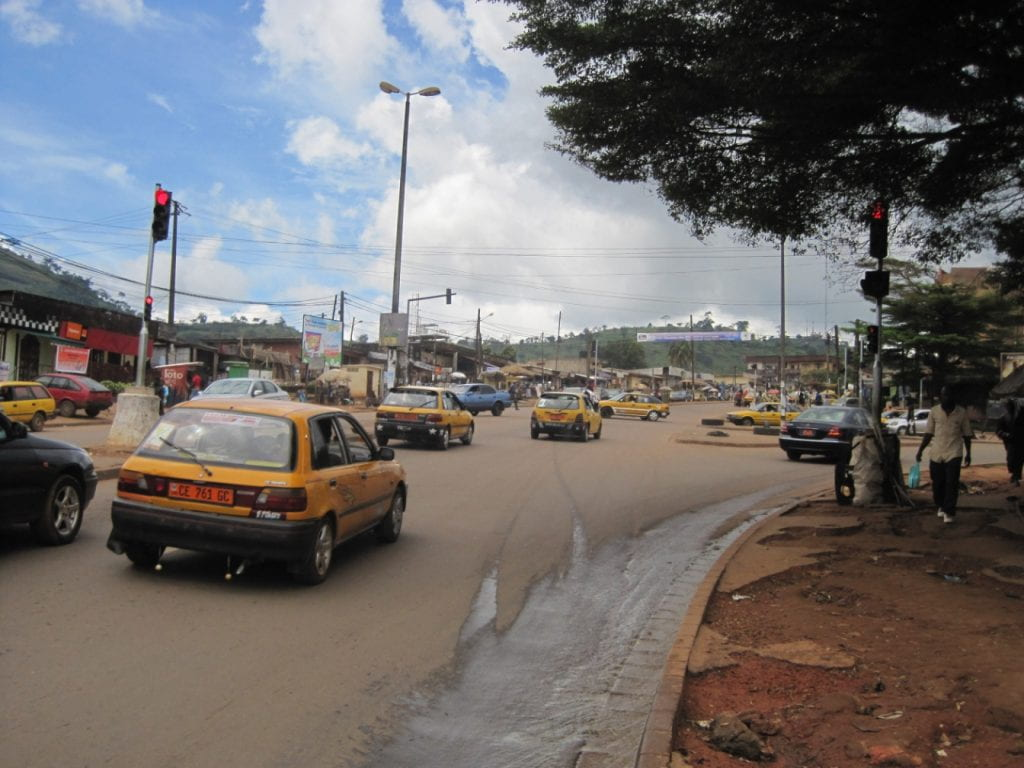Share taxis are the most common mode of transportation in Cameroon's capital.