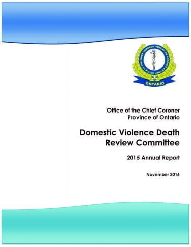 Domestic Violence Death Review Committee 2015 Annual Report Cover.