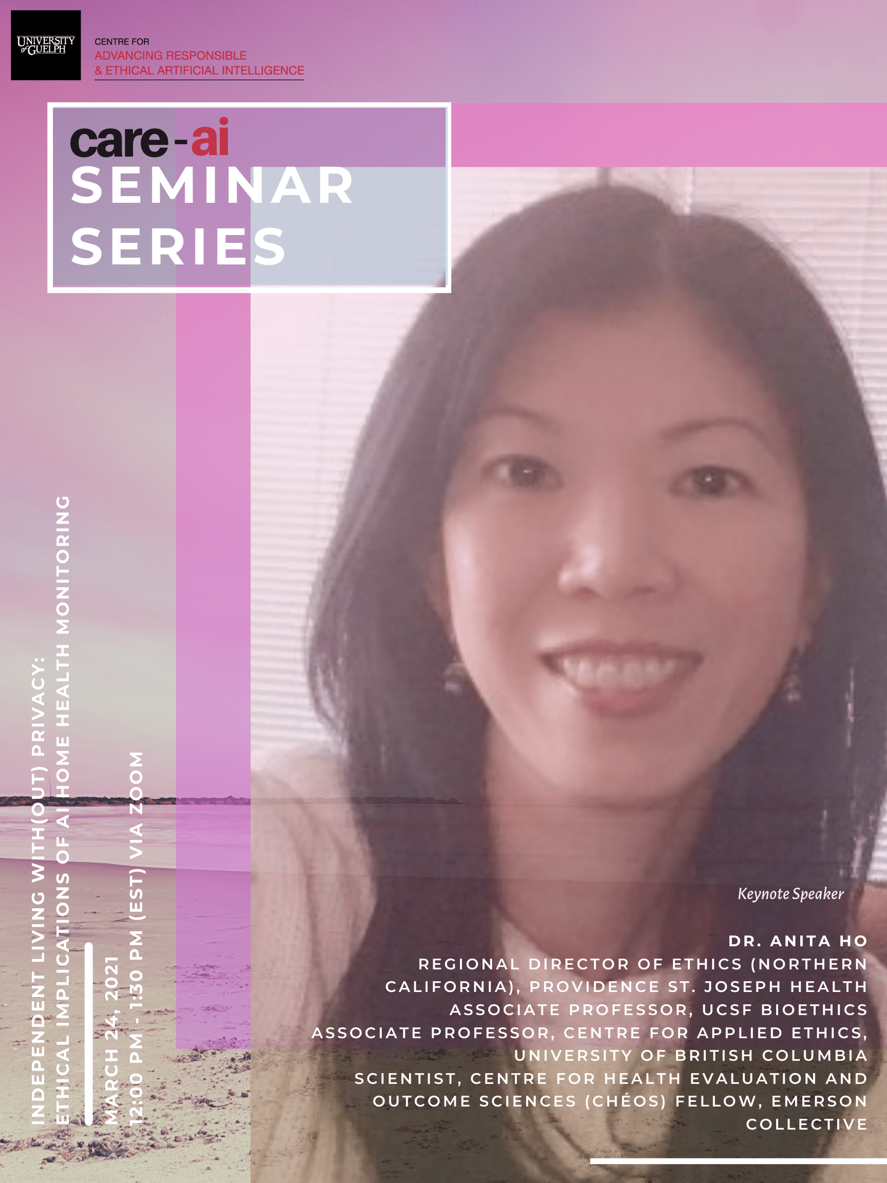 """Poster for care-ai Seminar Series: with Deborah Raji. Yellow background with close up of Deborah face. Care-ai Building block and words """"Care-ai Seminar Series in top left corner. Bottom left corner has the date """"November 25, 2020 12 pm to 1:30 pm Virtual Zoom Meeting. Bottom Right corner, under Deborah Raji face are the words """"Keynote Speaker Inioluwa Deoborah Raji Fellow at Mozilla Foundation"""""""