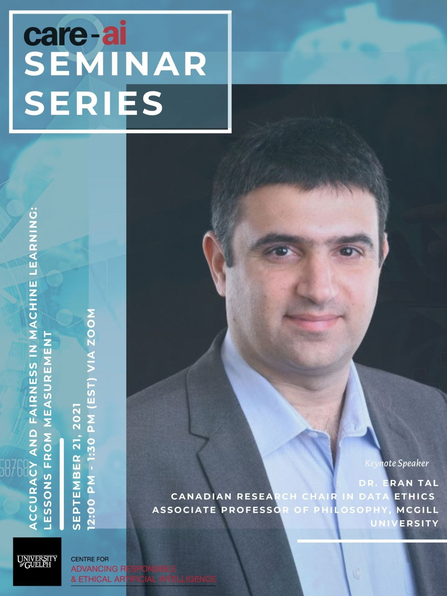 Event poster showing Dr. Eran Tal wearing a suit and facing forward. Details of event in Description