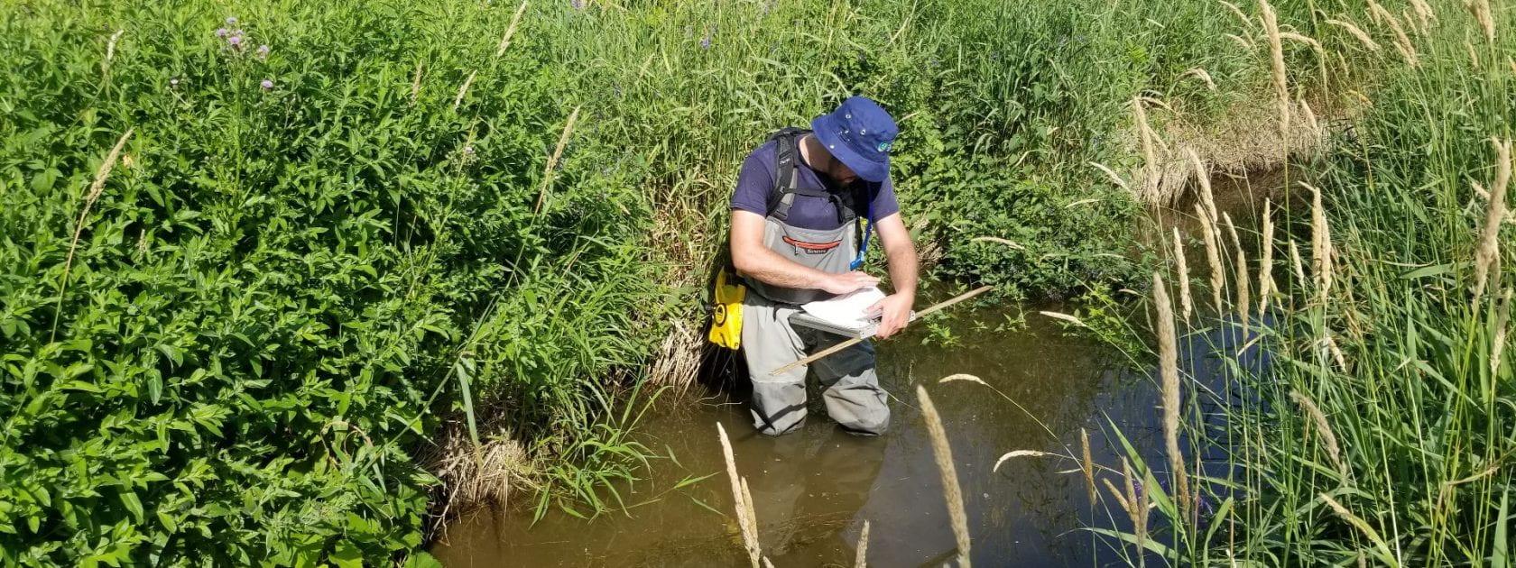 Student taking water samples in wetland