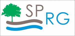 SPRG logo tree over brown and blue lines