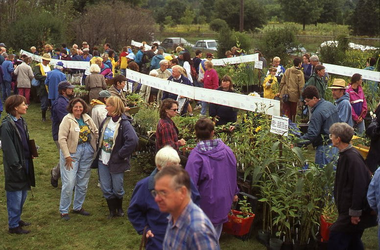 A group of people browse through rows of potted plants in a field. Informational signs are hung above the plants.