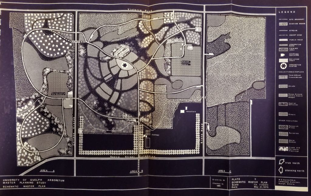 A black and white schematic map of The Arboretum
