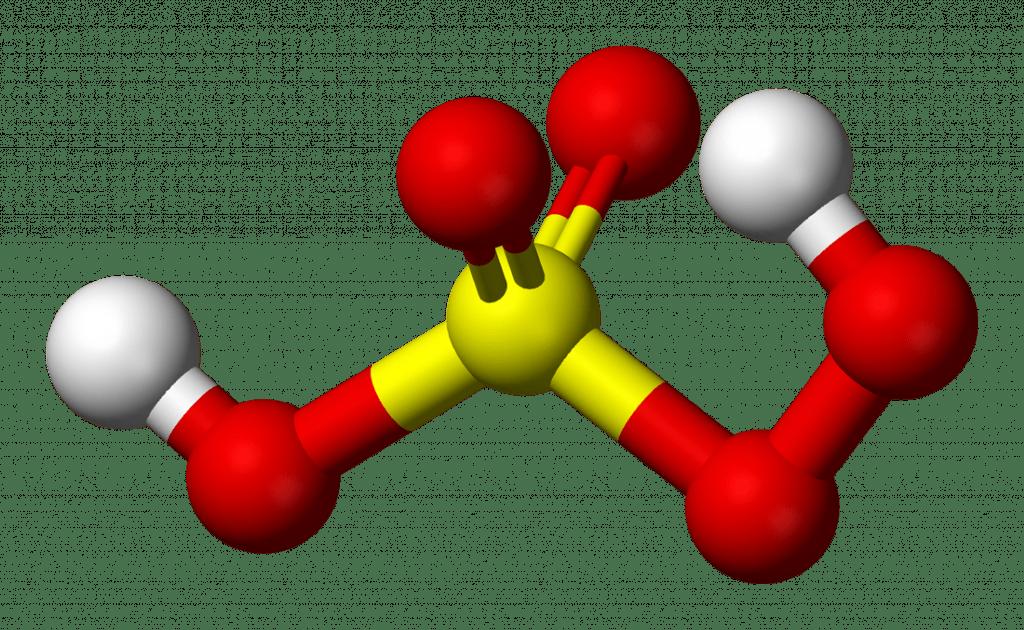 3D Molecular Model of Peroxymonosulfuric Acid (Caro's Acid)