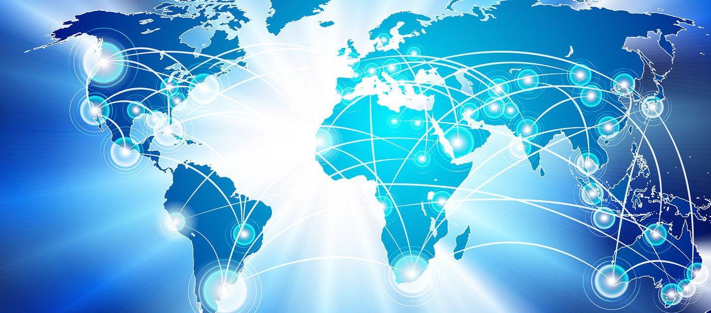 Stylized image of global internet