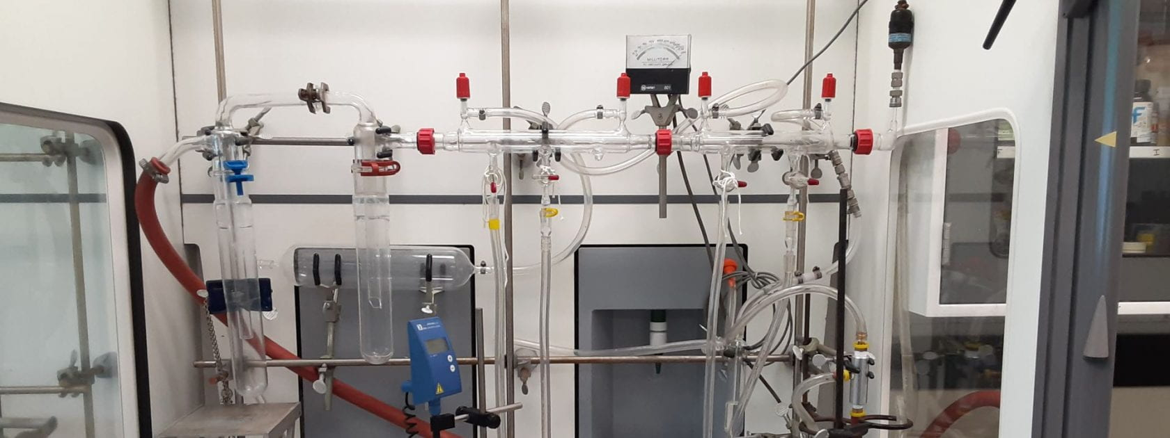 Photo of Schlenk line in a fume hood in the Schlaf lab
