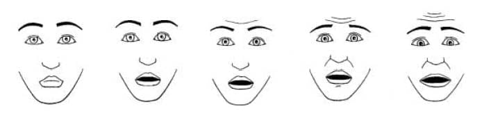The children's fear scale depicts five faces. The faces show different fear intensities. The faces range from not being scared at all on the left, and the faces get a little bit more scared as they move to the final face that is the most scared possible on the right. The eyebrows, eyes, and mouth features change across the faces to depict different degrees of fear.