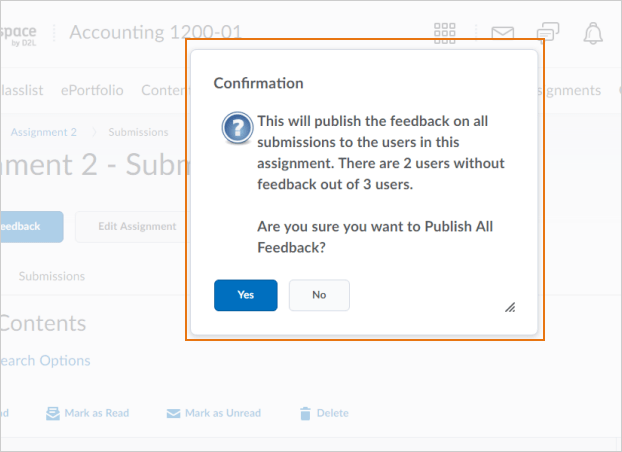ThePublish All Feedbackbutton confirmation dialog box indicating outstanding anonymous users that still require feedback