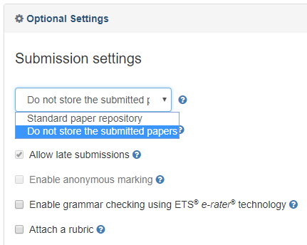 Turnitin submission settings