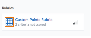 Unscored or partially scored rubric icon