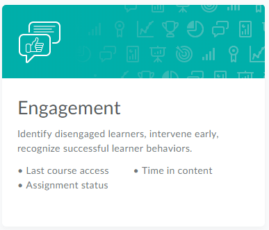 The Engagement dashboard card in CourseLink